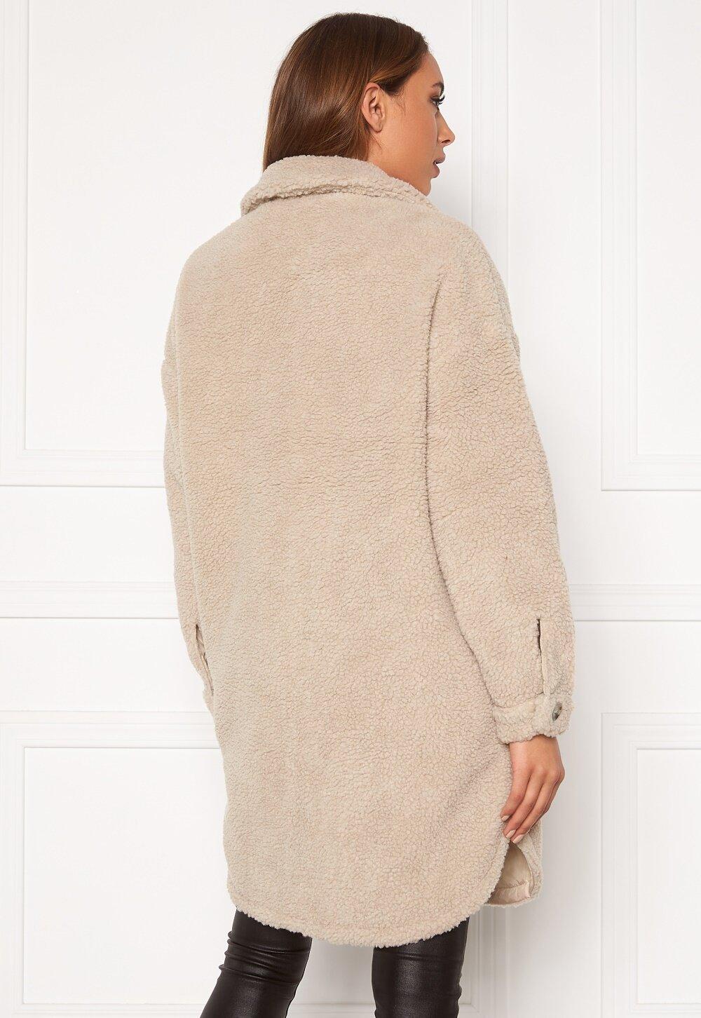 Jacqueline de Yong Stella Teddy Shirt Jacket Cement Bubbleroom