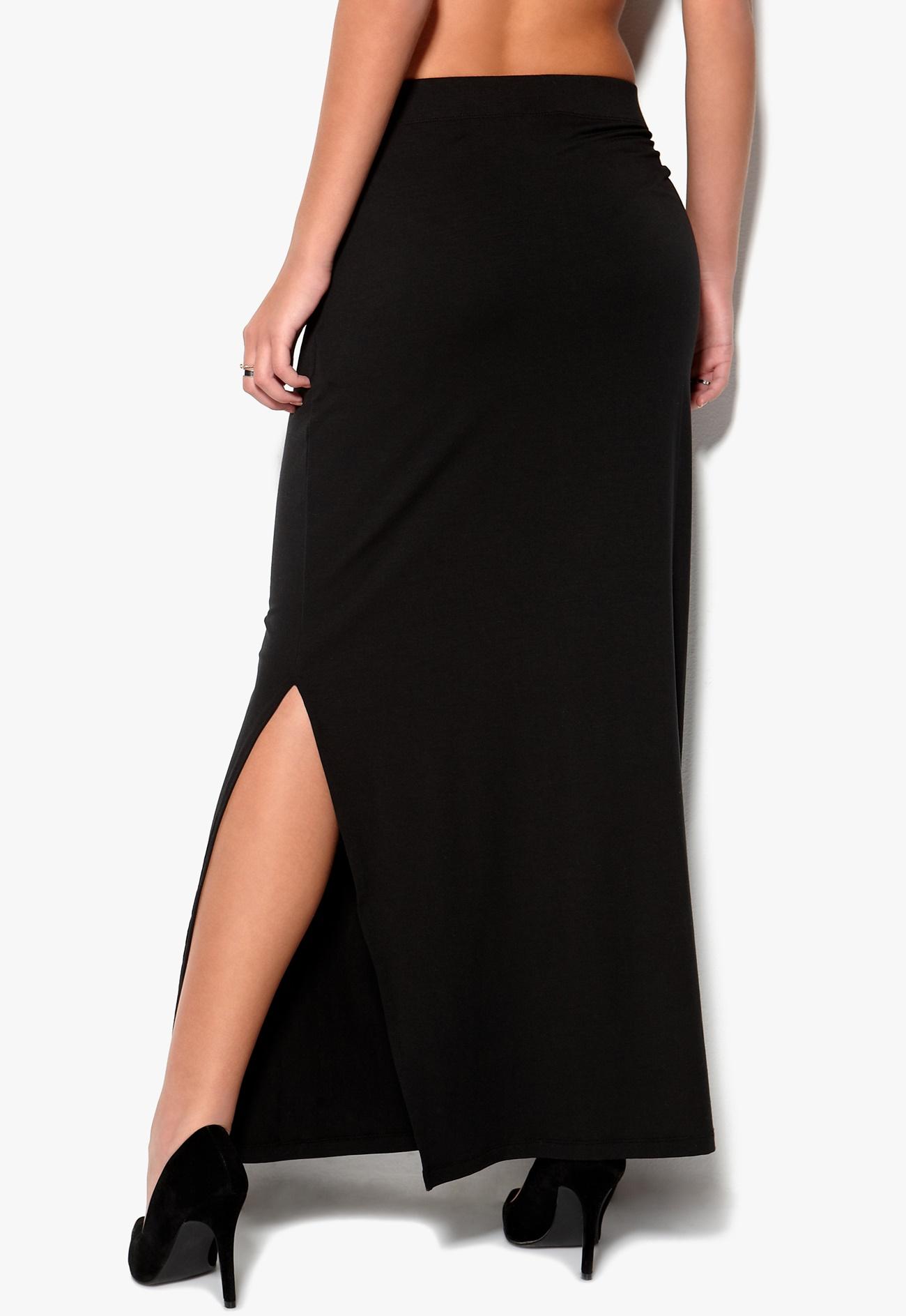 selected femme paja maxi slit skirt black bubbleroom