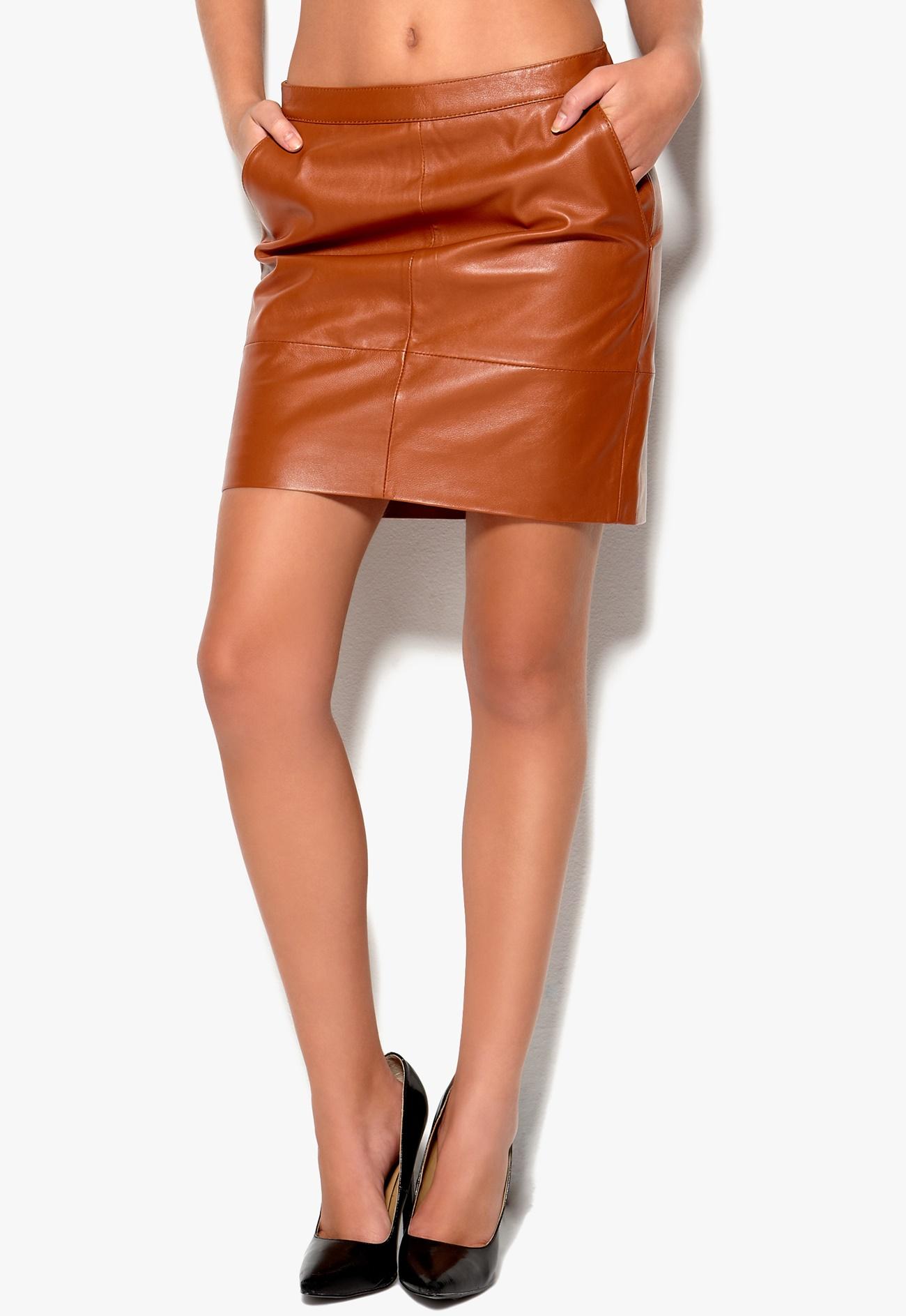 Mexx Leather Skirt 979-Metropol. Cognac - Bubbleroom