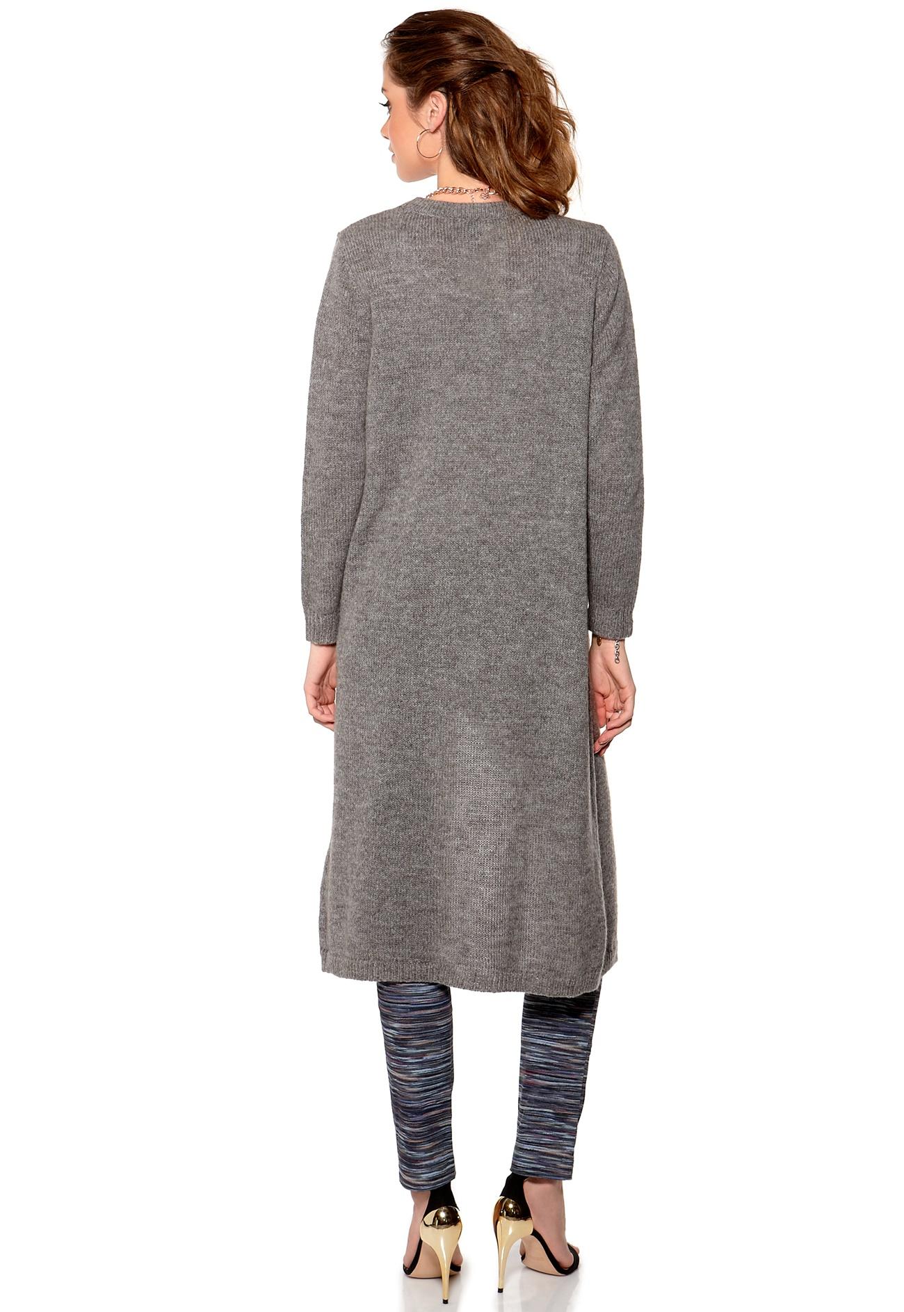 Y.A.S Super Long Knit Cardigan Light Grey Melange - Bubbleroom