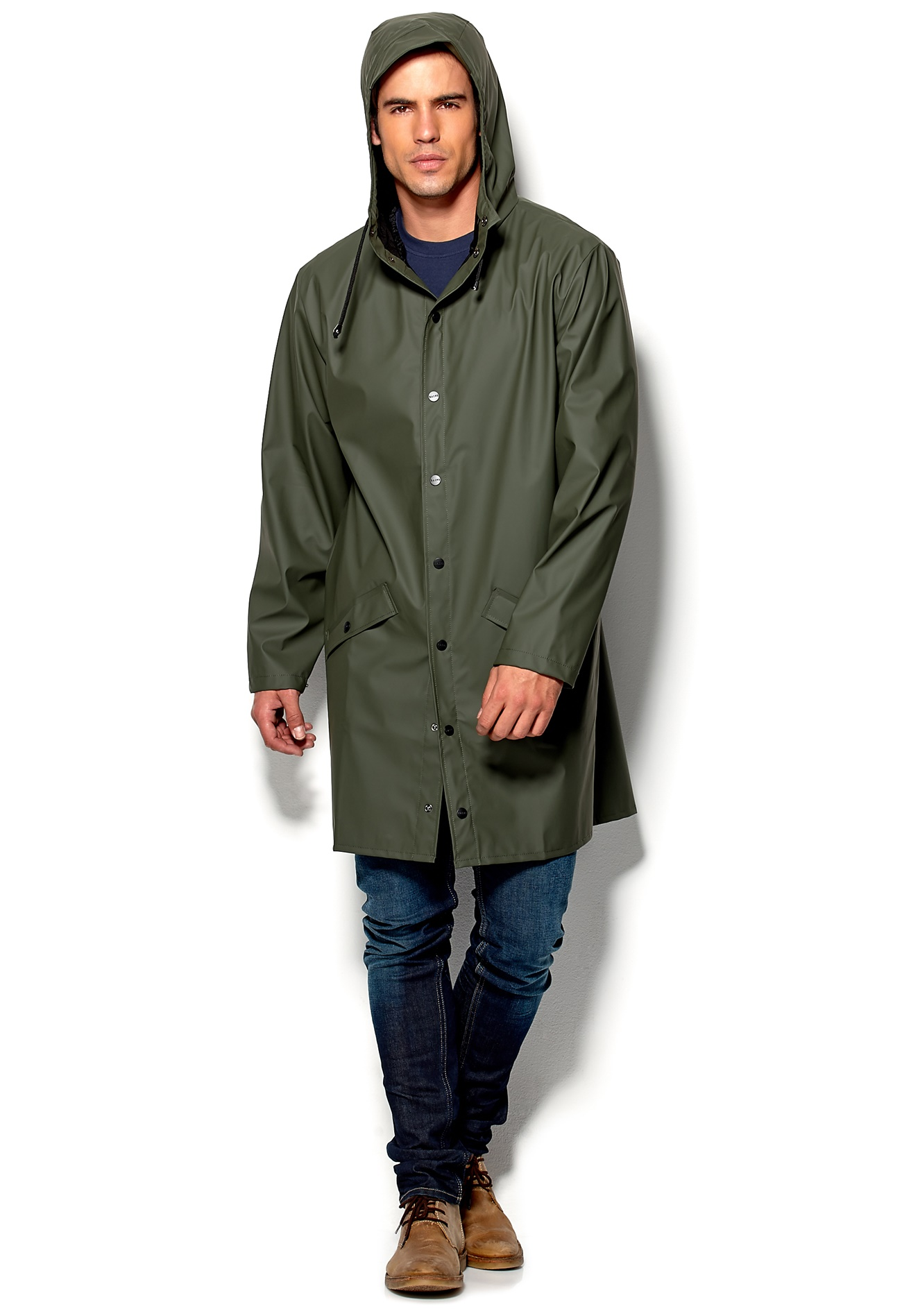 Rains Long Jacket Green - Bubbleroom