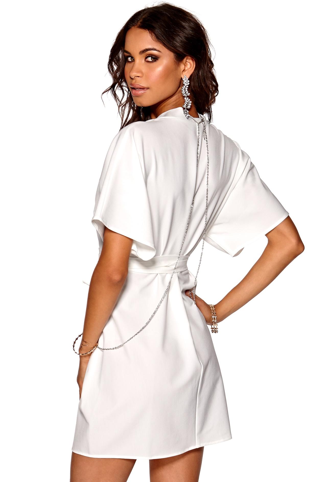 Make Way Karmen Kimono Dress White - Bubbleroom