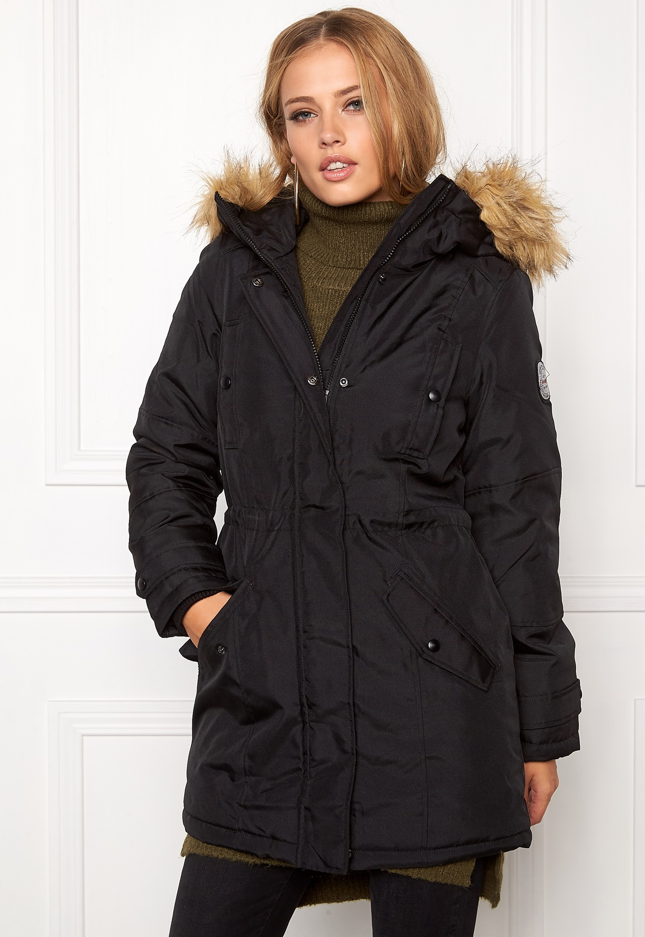 vero moda polar arctic 3 4 parka black bubbleroom. Black Bedroom Furniture Sets. Home Design Ideas