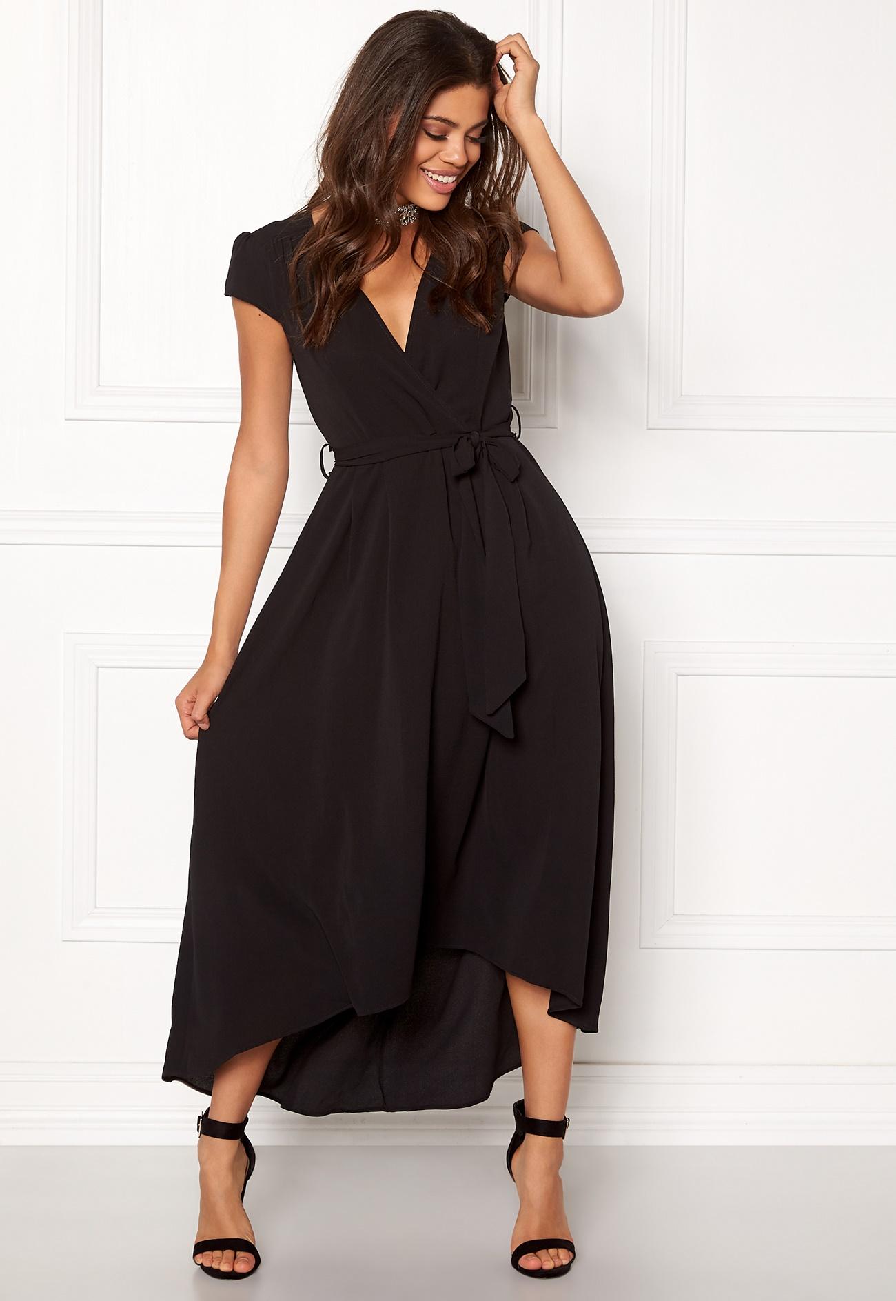 Ax paris cap waterfall dress black bubbleroom for Waterfall design dress