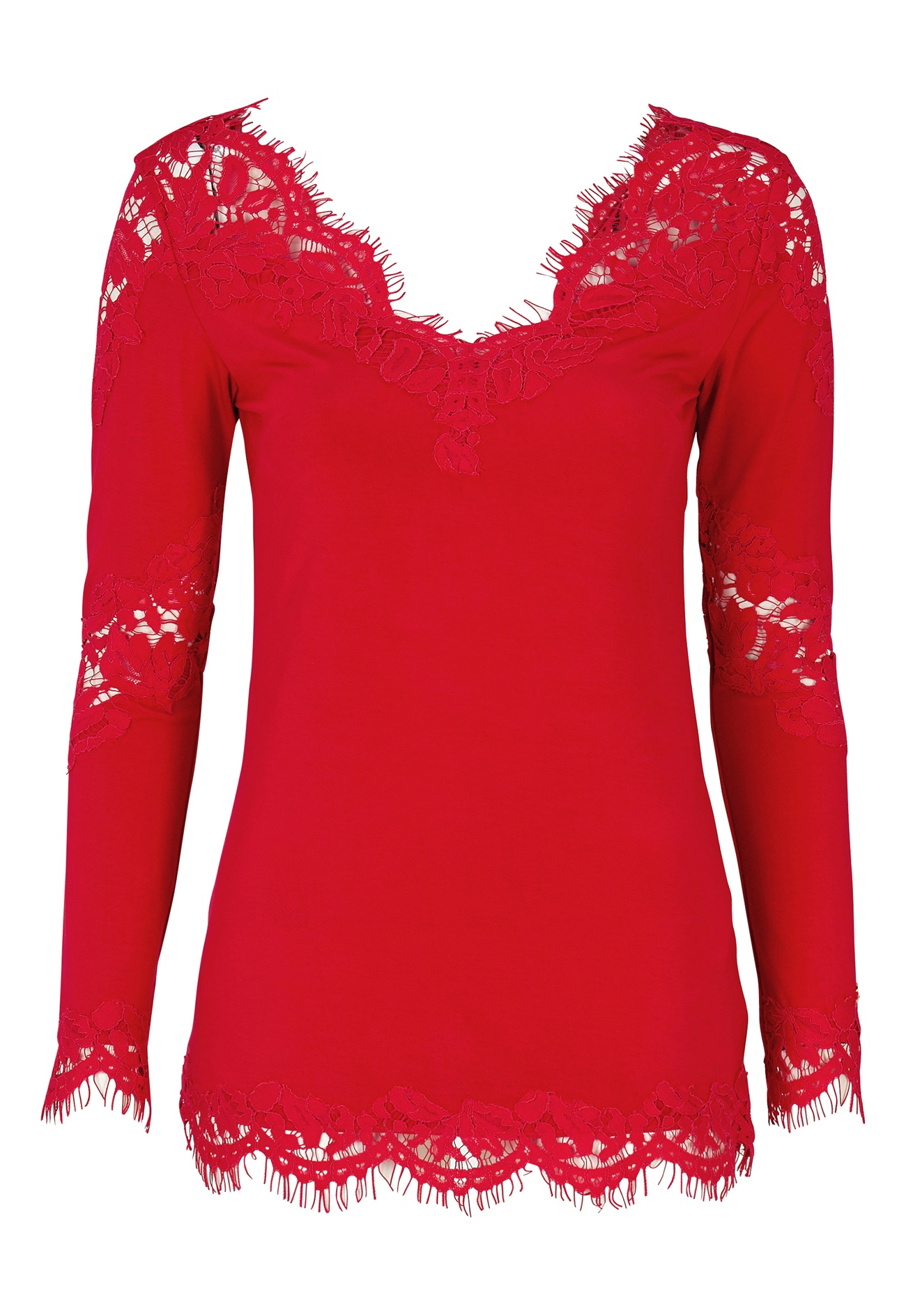 Chiara Forthi Evissu Lace Top Red - Bubbleroom