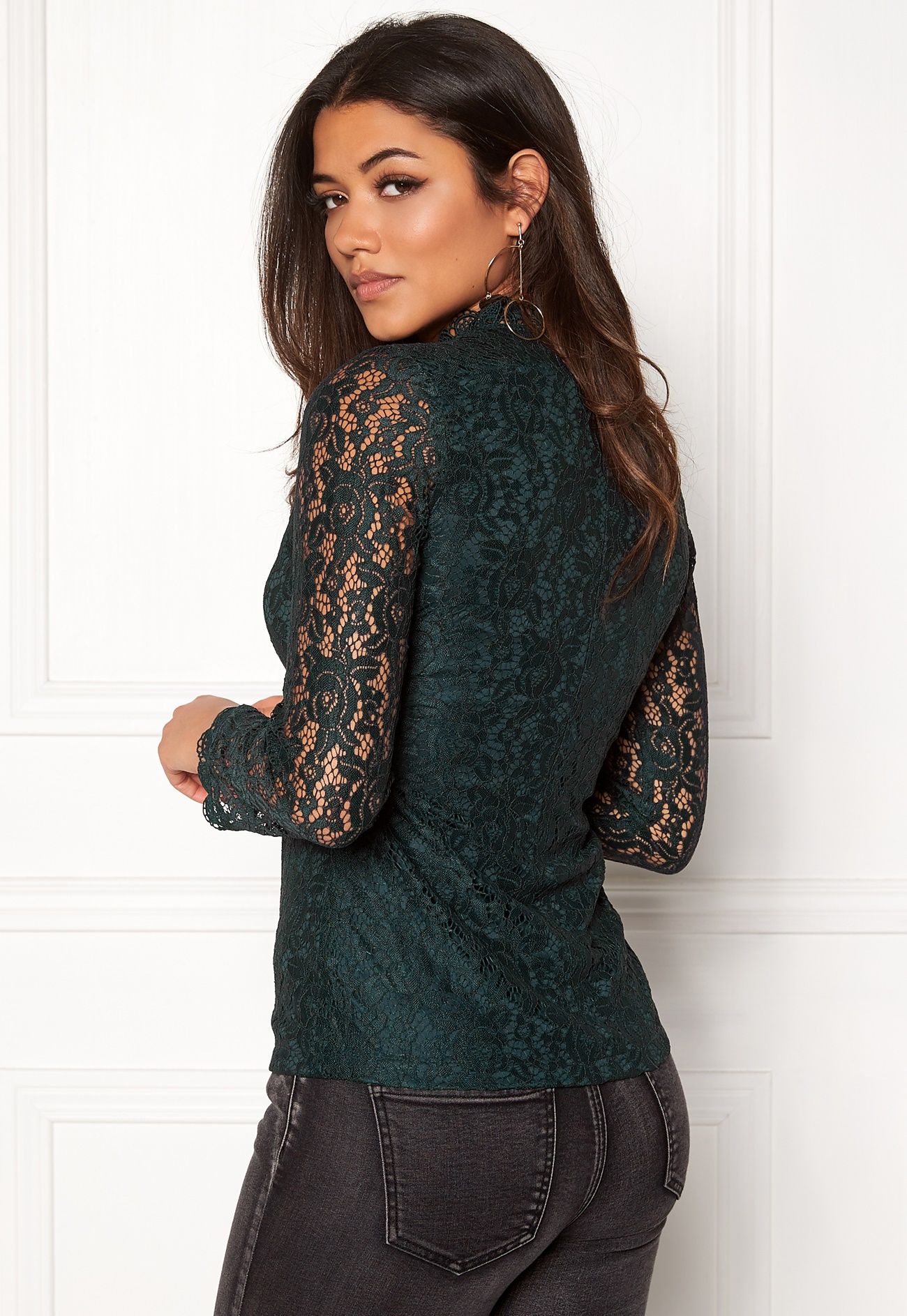 DRY LAKE Mysticus Blouse Dark Green Lace - Bubbleroom