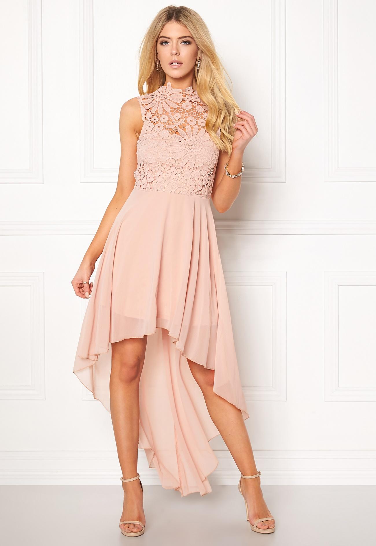 Girl In Mind Midi Lace Dress Pink - Bubbleroom