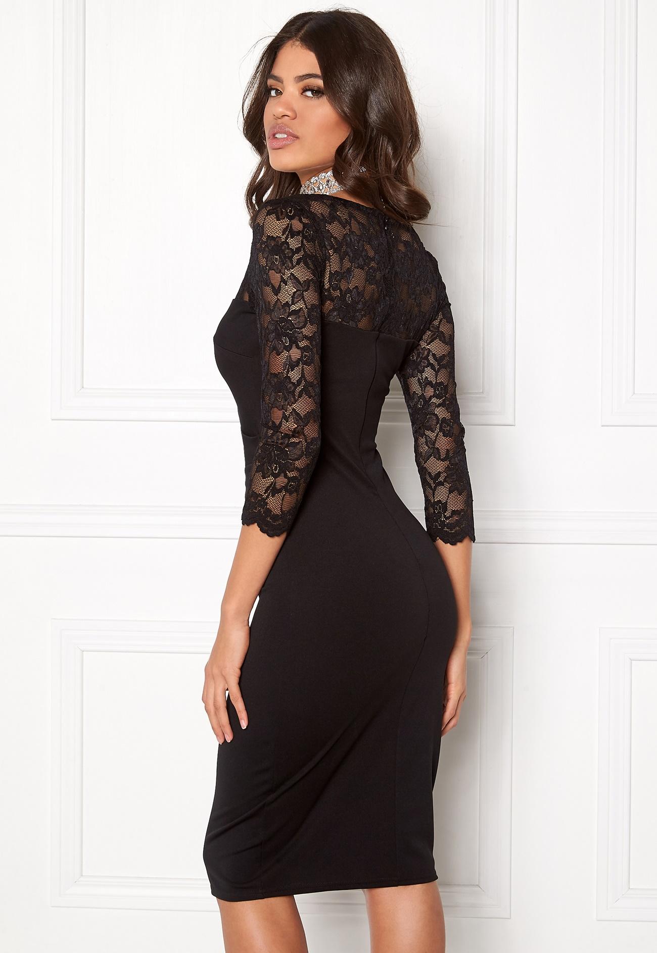 Goddiva Fitted Midi Dress Black - Bubbleroom
