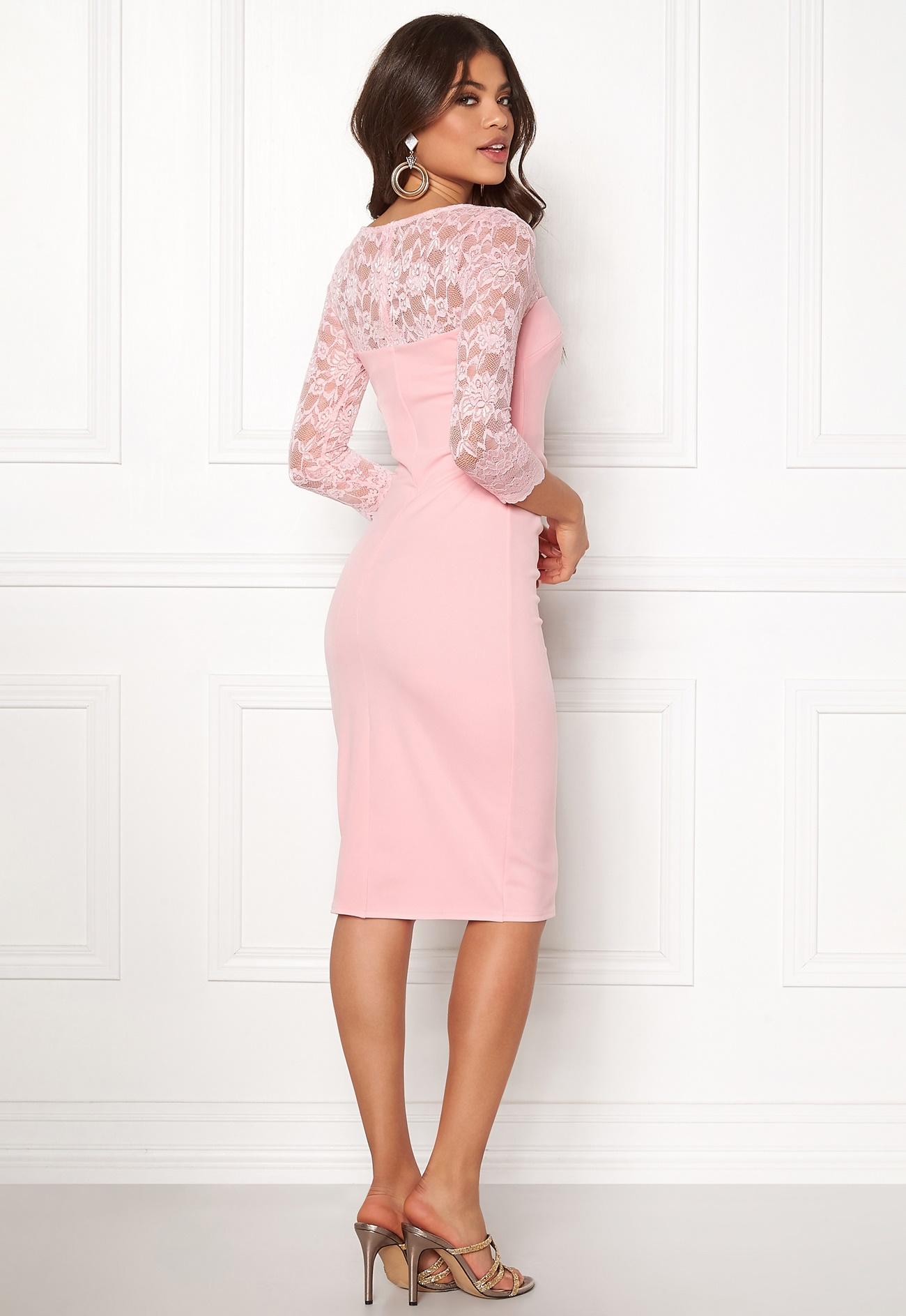 Goddiva Fitted Midi Dress Pink - Bubbleroom