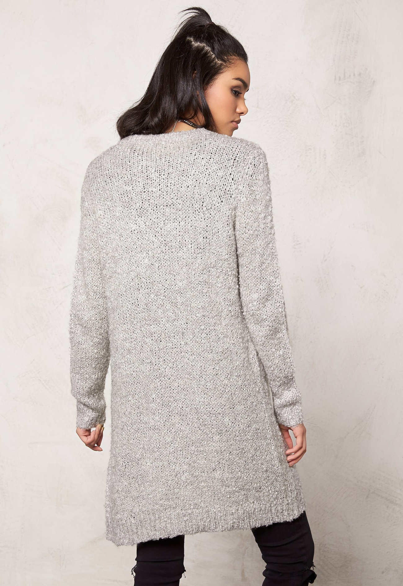 jacqueline de yong gilly l s button cardigan light grey melange bubbleroom. Black Bedroom Furniture Sets. Home Design Ideas