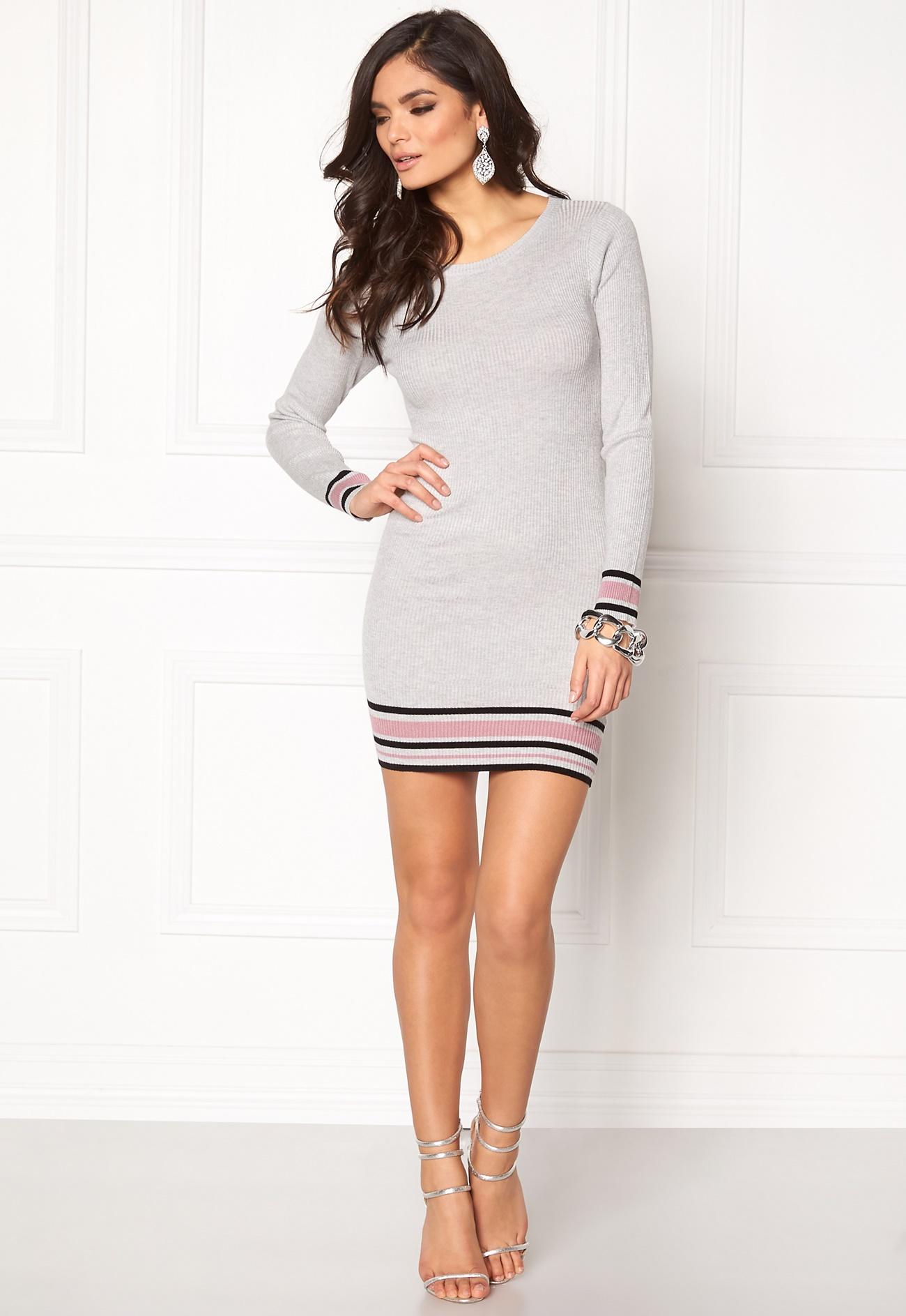 jacqueline de yong lazy l s stripe dress light grey melange bubbleroom. Black Bedroom Furniture Sets. Home Design Ideas