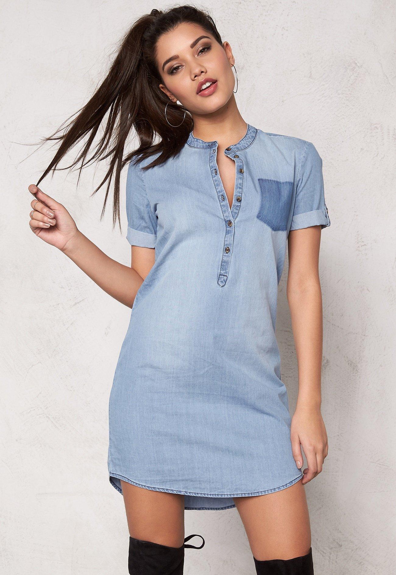 jacqueline de yong move denim dress light blue denim bubbleroom