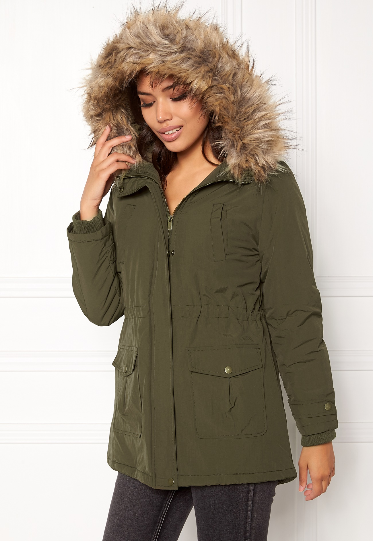 New Look khaki Faux Fur Hooded Jacket for Women Online Shopping in Dubai, Abu Dhabi, UAE - NEAT33SFU - Free Next Day Delivery day Exchange, Cash On Delivery.