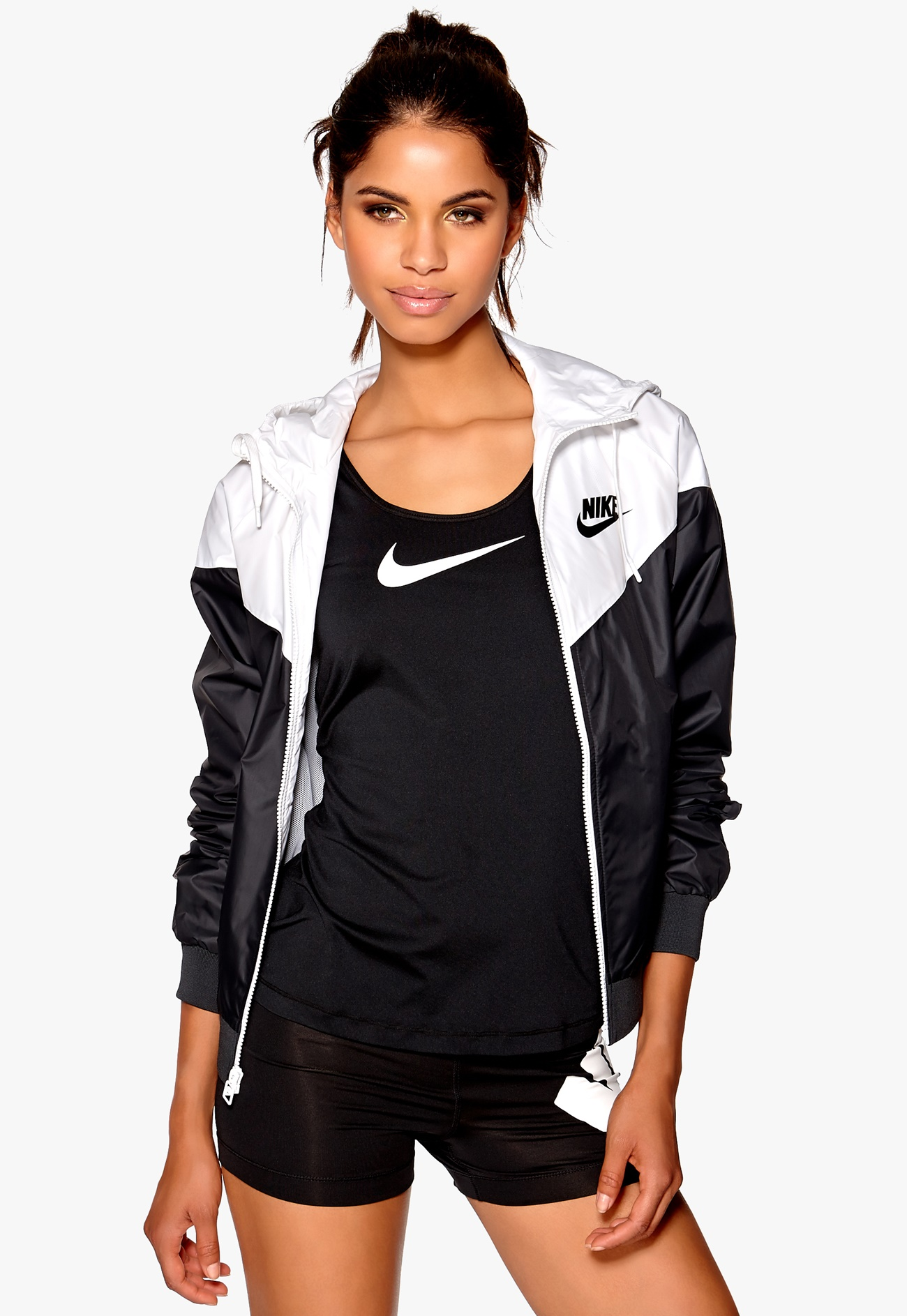 white and black nike windbreaker