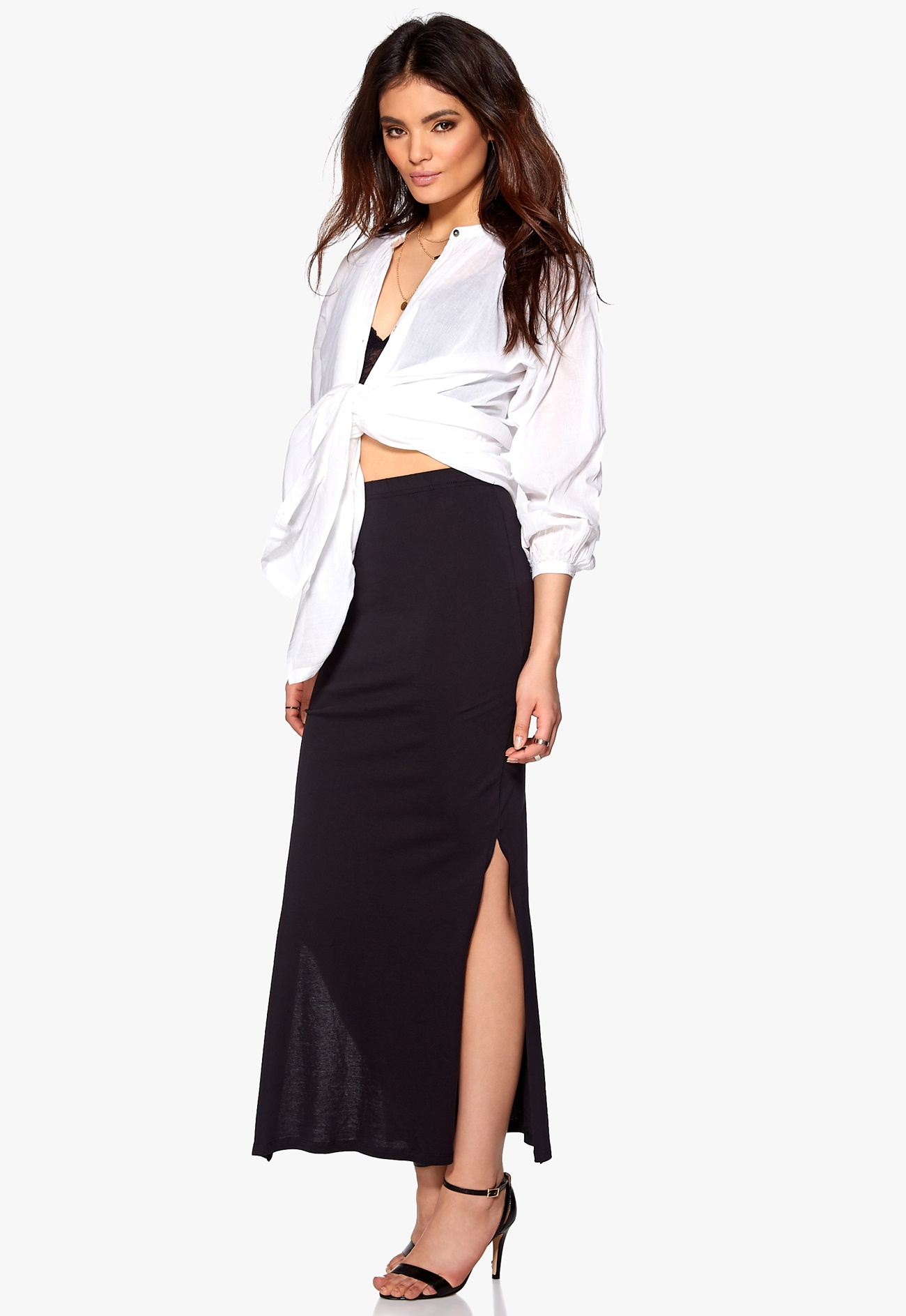 ONLY Abbie Slit Long Skirt Black - Bubbleroom