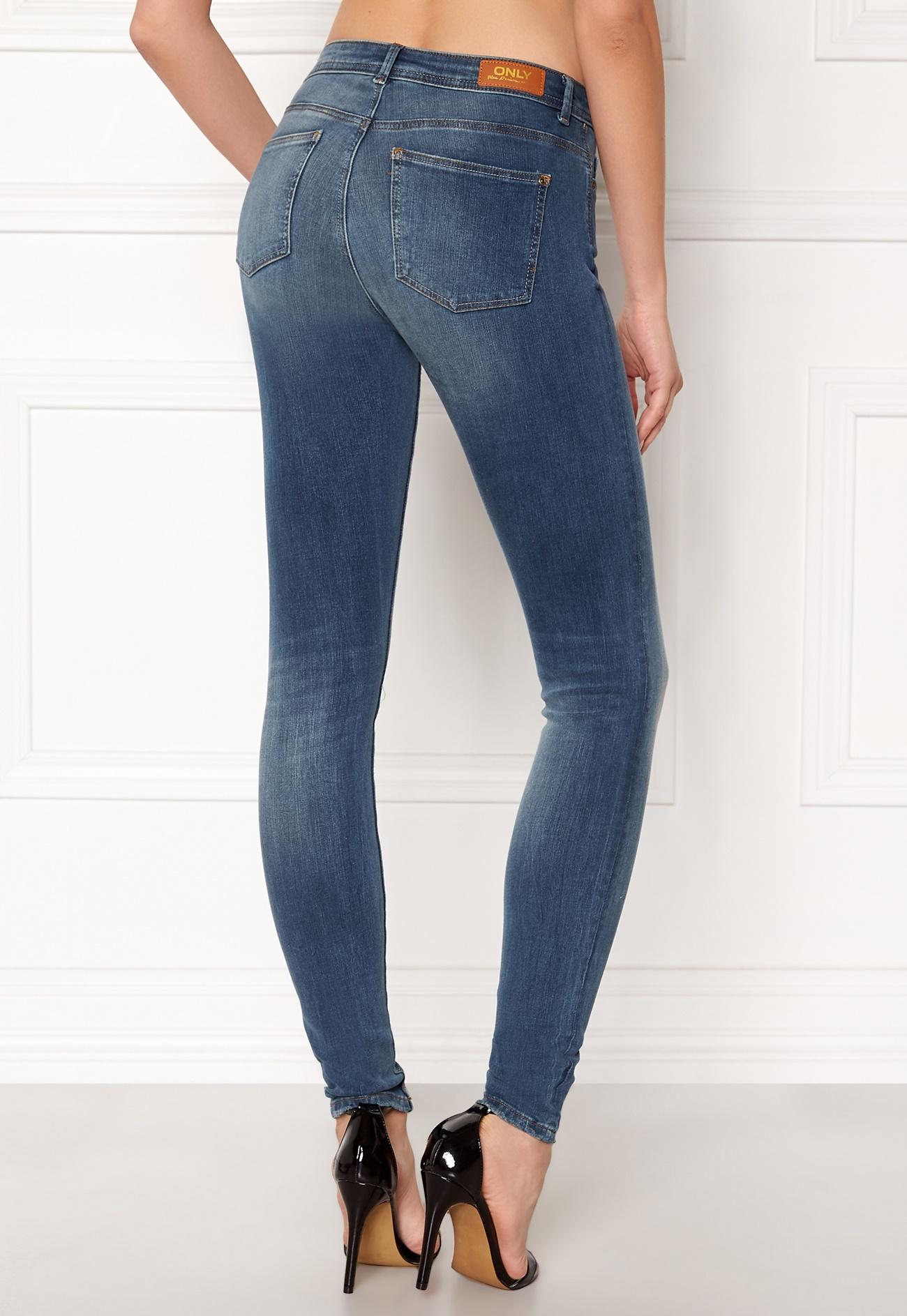 ONLY Carmen Reg Skinny Jeans Medium Blue Denim - Bubbleroom