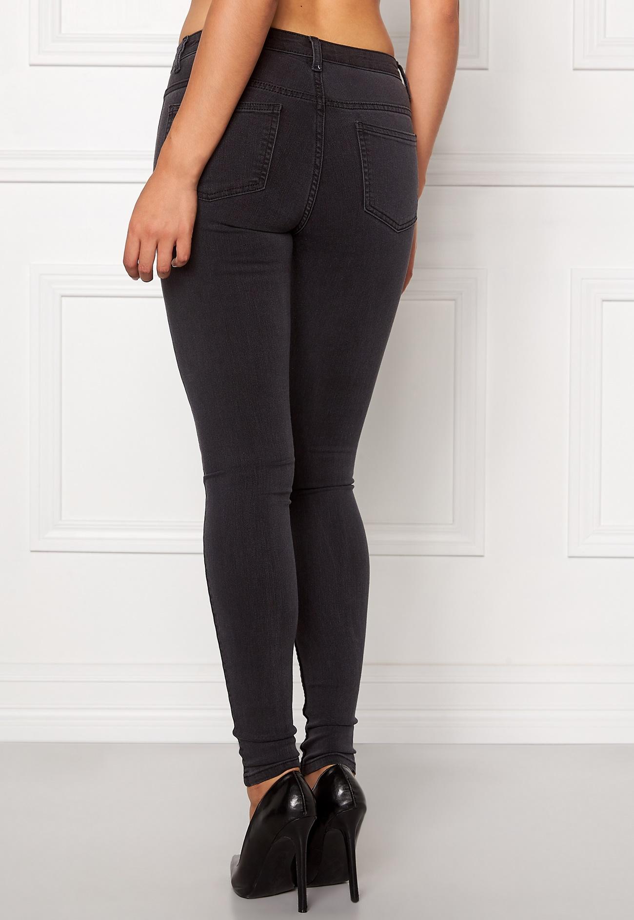 ONLY Eternal Skinny Zip Jeans Dark Grey Denim - Bubbleroom