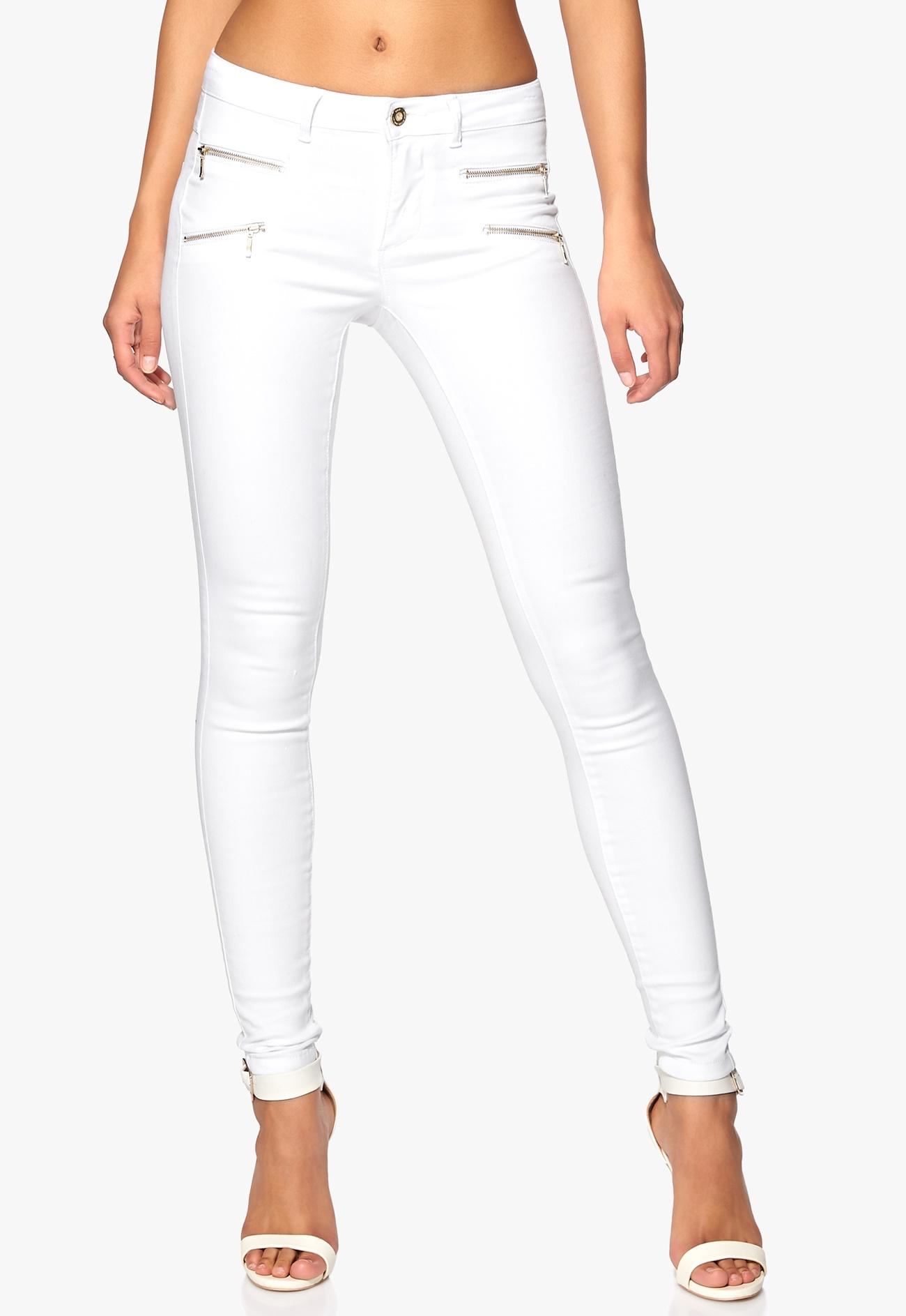 only royal skinny zip jeans white bubbleroom. Black Bedroom Furniture Sets. Home Design Ideas