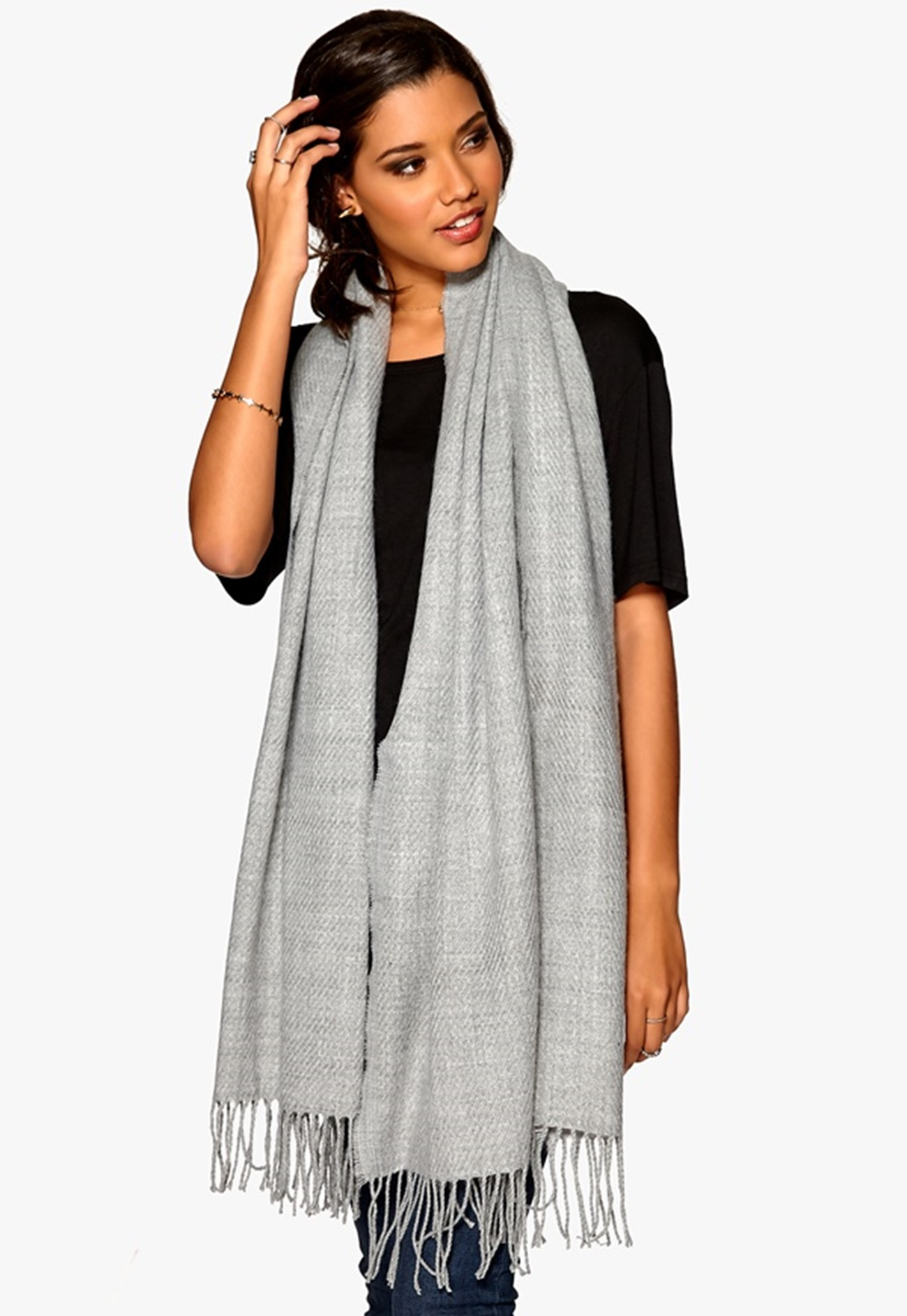 pieces kial scarf light grey melange bubbleroom