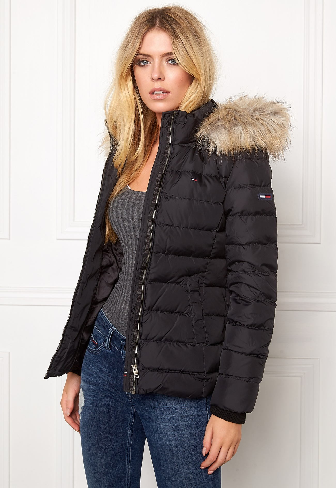 tommy hilfiger denim basic down jacket 078 tommy black. Black Bedroom Furniture Sets. Home Design Ideas