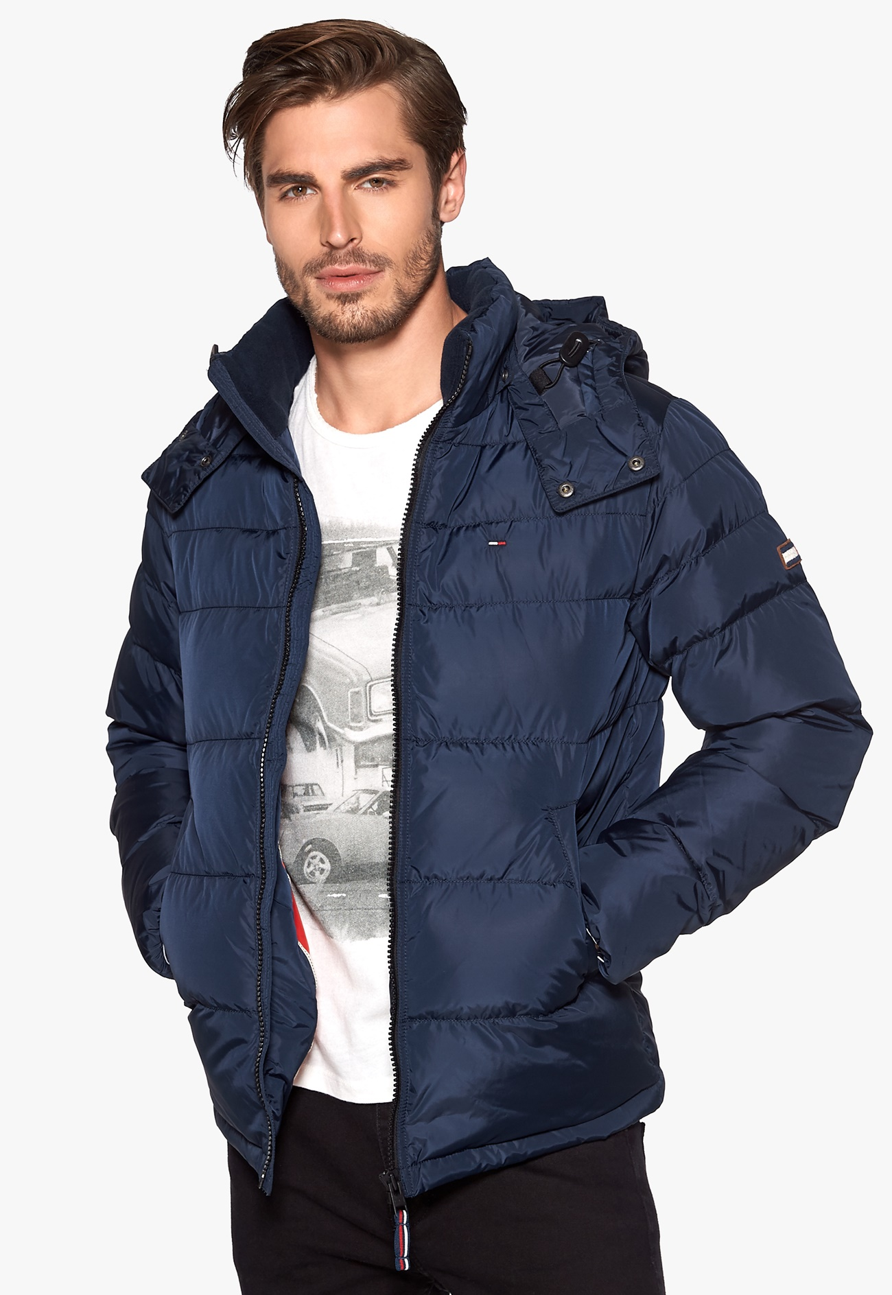 tommy hilfiger denim nebraska down jacket black iris. Black Bedroom Furniture Sets. Home Design Ideas
