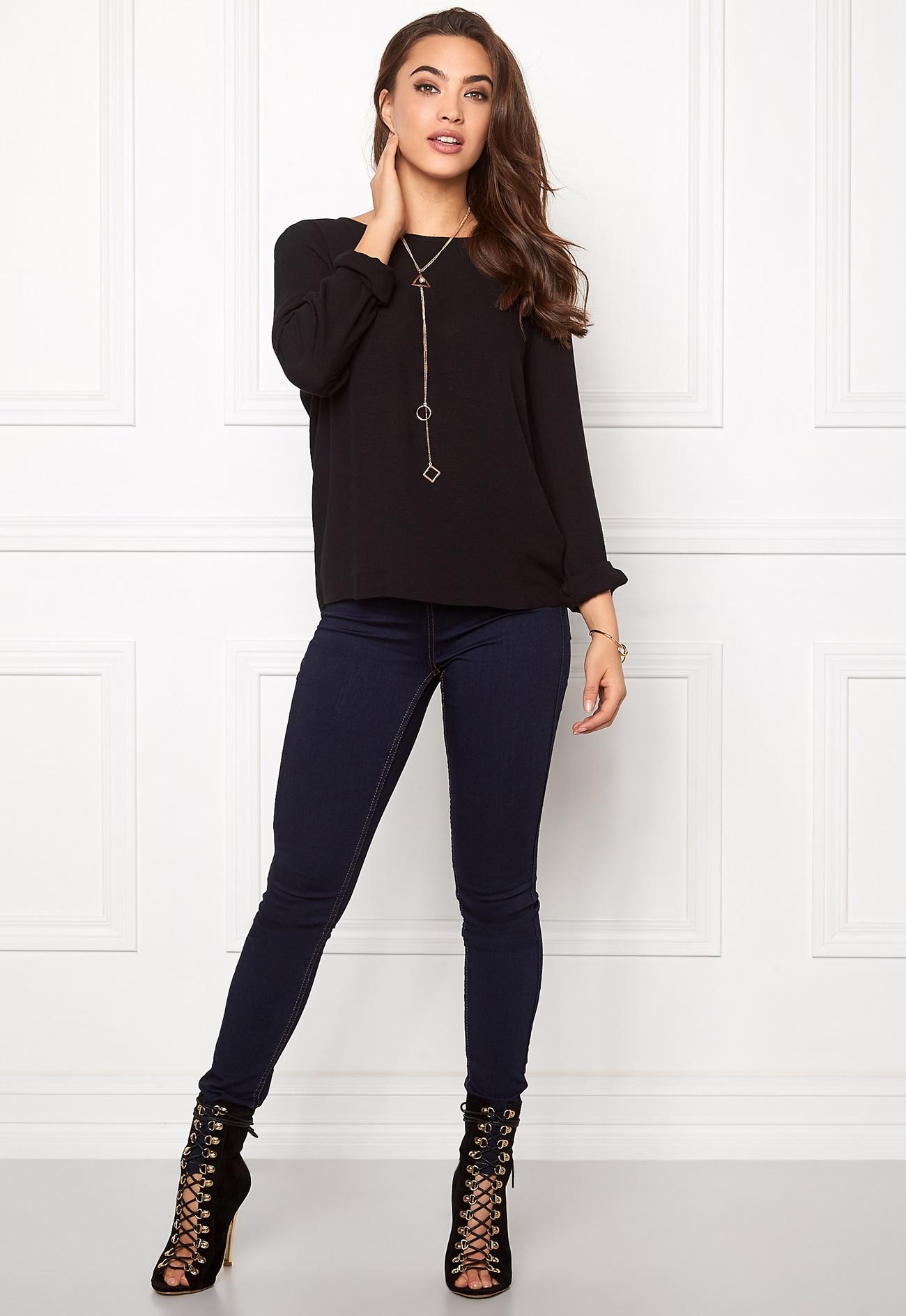 vero moda asta ls blouse black bubbleroom. Black Bedroom Furniture Sets. Home Design Ideas
