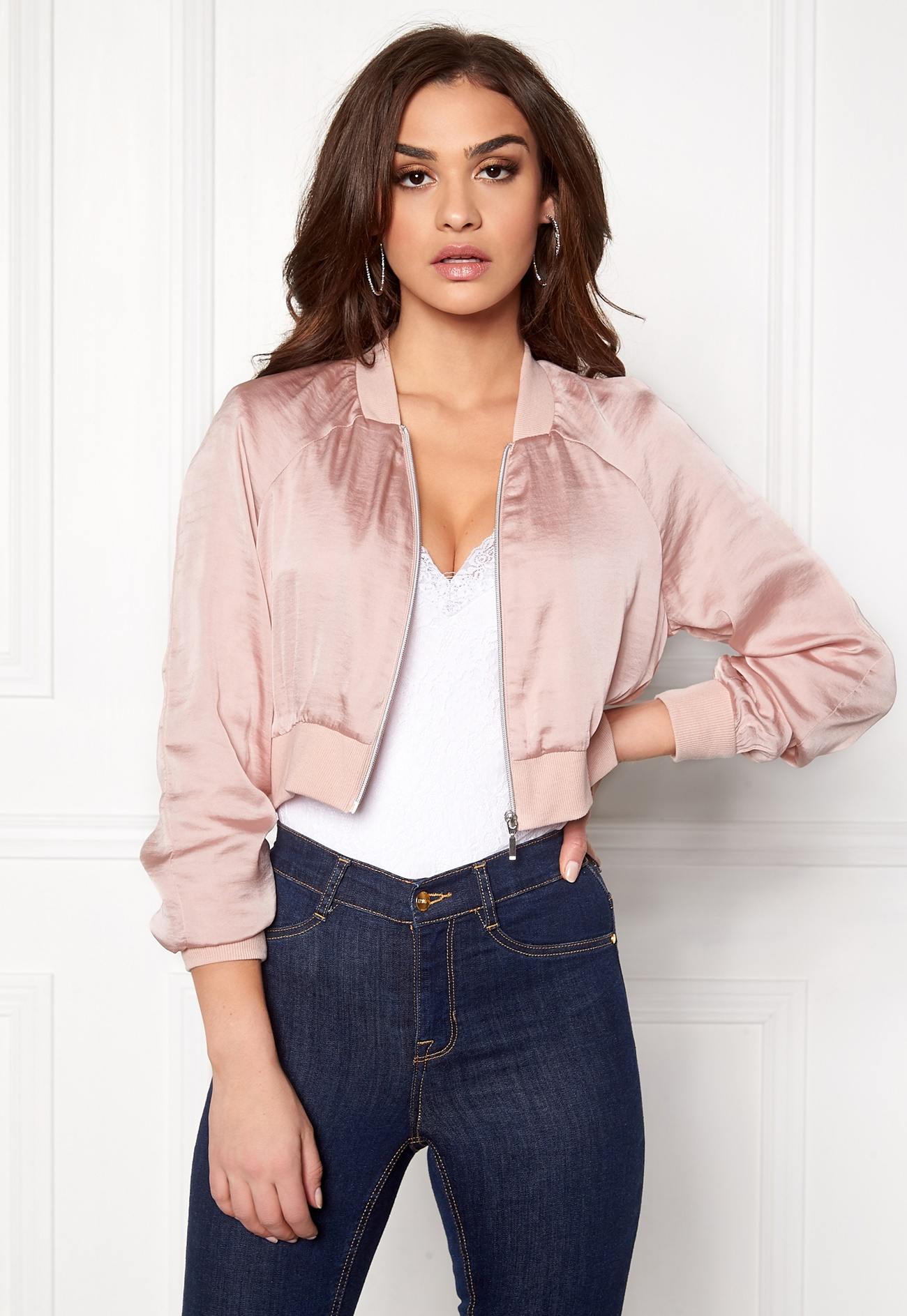 VERO MODA Hotta Short Bomber Jacket Peach Whip - Bubbleroom
