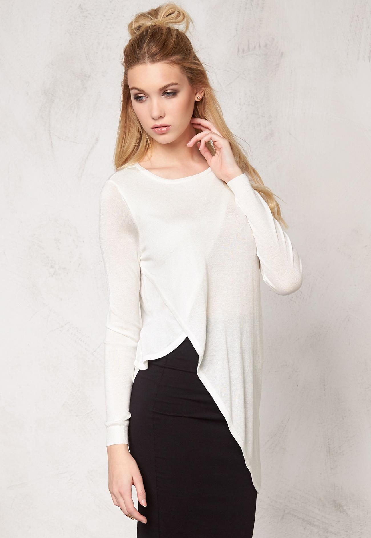 vero moda sunset high low blouse snow white bubbleroom. Black Bedroom Furniture Sets. Home Design Ideas