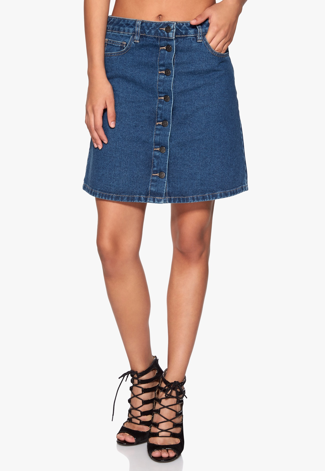 VILA Liga Denim Skirt Dark Blue Denim - Bubbleroom