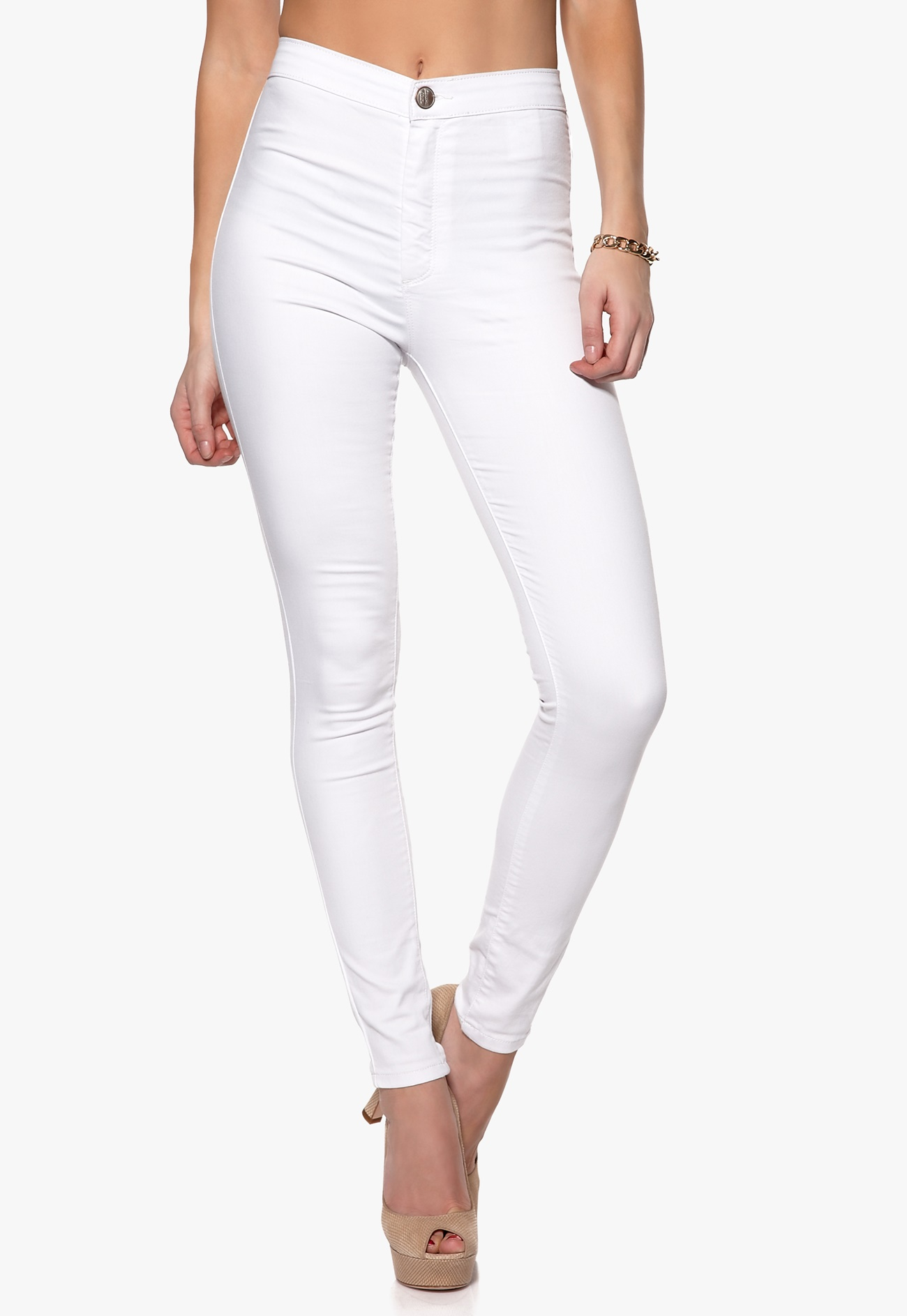 Mixed from Italy High Waisted Skinny Jeans White - Bubbleroom