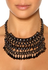 Pieces Lynn Necklace Gunmetal Bubbleroom.se