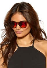 Le Specs Halfmoon Magic Sunglasses Tan W/Pink Revo Mirr