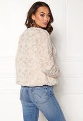 VERO MODA Curl Short Fake Fur Jacket Oatmeal