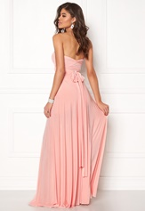 Goddiva Multi Tie Maxi Dress Oyster