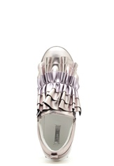LOST INK Nash Ruffle Slip-On Shoes Pewter