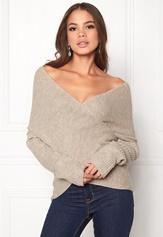 BUBBLEROOM Brixia knitted sweater Beige melange Bubbleroom.se