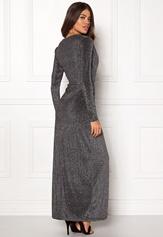 Girl In Mind Plunge V Neck Wrap Dress Black/silver