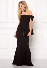 Goddiva Bardot Fishtail Maxi Dress Black