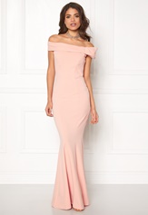 Goddiva Bardot Fishtail Maxi Dress Nude
