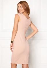 Goddiva Bardot Pleat Midi Dress Nude