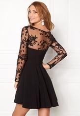 Goddiva Mesh Skater Dress Black