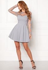 Goddiva Mesh Skater Dress Silver