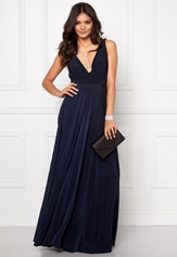 Goddiva Pleated Oscar Dress Navy