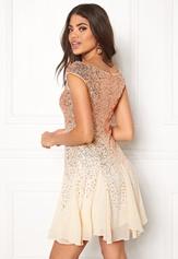 Goddiva Sequin And Chiffon Dress Champagne