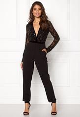 Goddiva Sequin Bodice Jumpsuit Black