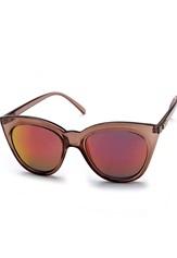 Le Specs Halfmoon Magic Sunglasses Tan W/Pink Revo Mirr Bubbleroom.se