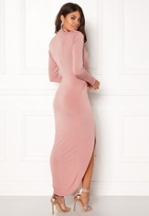 John Zack Long Sleeve Rouch Dress Rose Pink