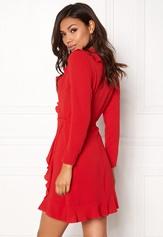 John Zack Wrap Frill Mini Dress Red