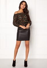 New Look Ballon Printed Lace Top Black Pattern