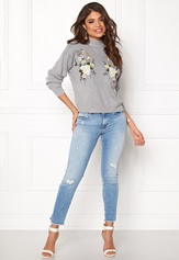 New Look Bird Embroidered Sweat Pale Grey